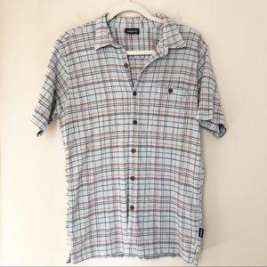 Patagonia Hemp Cotton Blue Striped SS Shirt M